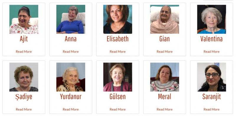 Screenshot of the Grandma's Story online exhibition, selection of grandmas